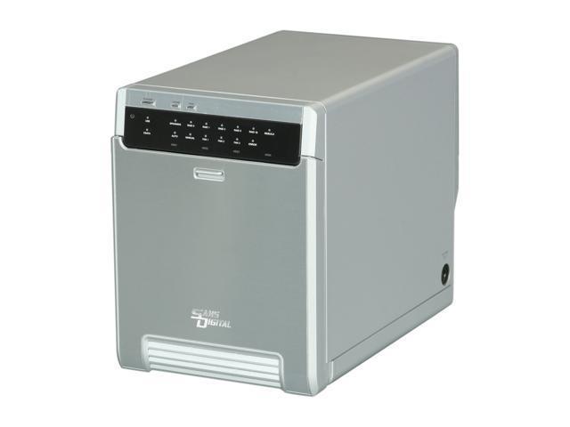 SANS DIGITAL MobileSTOR MS4UT+ 4-Bay USB 3.0 / eSATA Hardware RAID 5 Tower (Silver)
