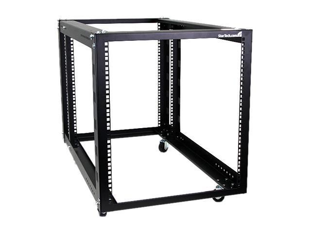 startech 12u 4 post server equipment open frame rack with adjustable posts u0026 casters