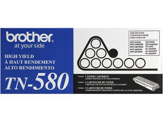 Brother TN-580 Toner Cartridge 7,000 Page Yield; Black