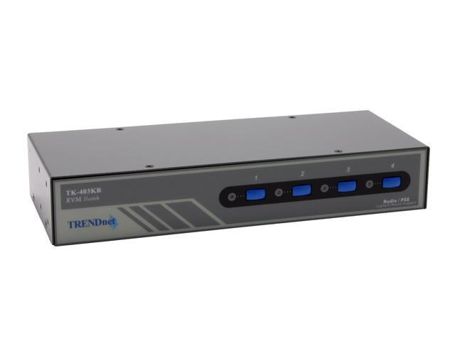 TRENDnet TK-403KR 4-Port PS/2 Rack Mount KVM Switch Kit w/ Audio