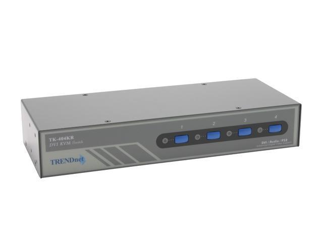 TRENDnet TK-404KR 4-Port Rack Mount DVI KVM Switch w/ Audio