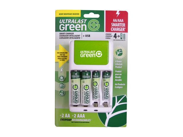 ULTRALAST ULGFAMILY 4-pack AA & AAA Ni-MH Rechargeable Batteries & Charger Kit