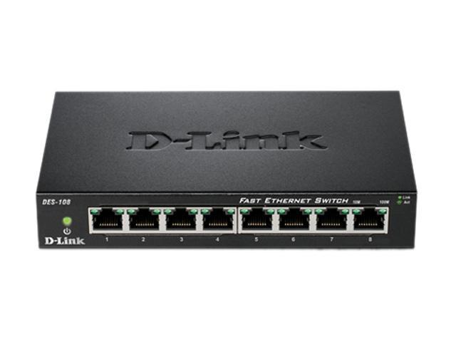D-Link DES-108 Unmanaged 8-Port Fast Ethernet Switch