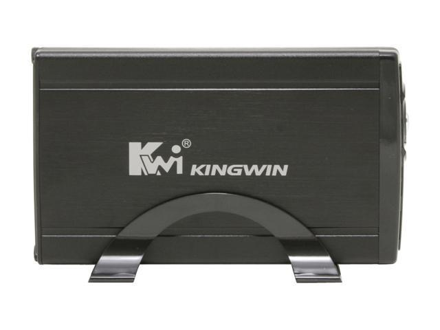 "KINGWIN JT-35EU-BK Aluminum 3.5"" Black USB 2.0 & eSATA External Enclosure & One Touch Back Up w/ Fan"