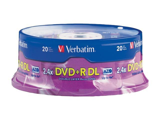 Verbatim 8.5GB 2.4X DVD+R DL 20 Packs Disc Model 95310