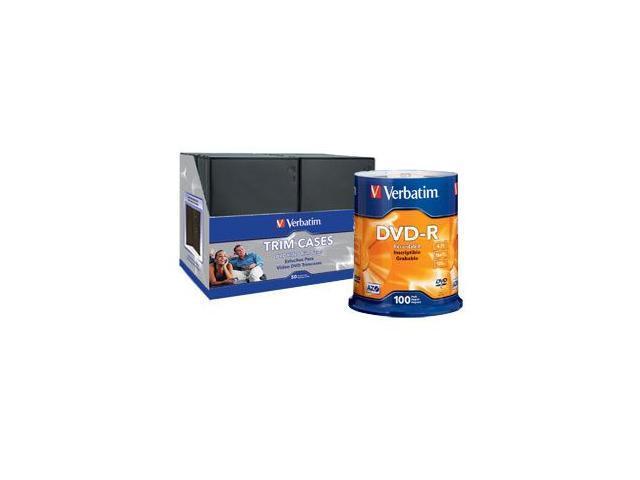Verbatim 4.7GB 16X DVD-R 100 Packs Disc with CD/DVD Video Trim Case Model 95102/95094KIT