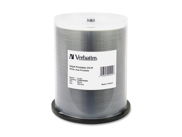 Verbatim 700MB 52X CD-R White Inkjet Printable 100 Packs Media Model 95252
