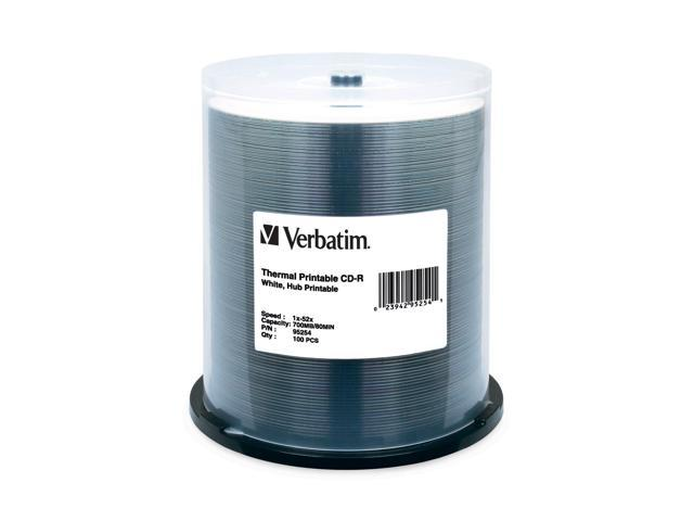 Verbatim CD-R 700MB 52X White Thermal Printable, Hub Printable - 100pk Spindle