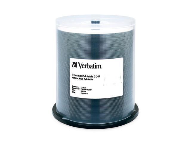 Verbatim 700MB 52X CD-R Thermal Printable 100 Packs Media Model 95254