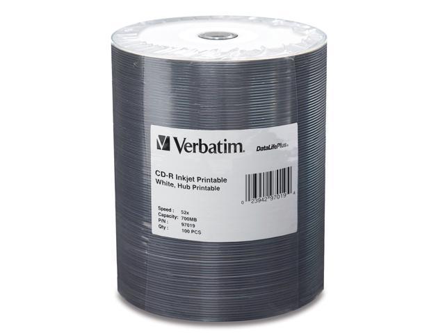 Verbatim 700MB 52X CD-R Inkjet Printable Hub Printable 100 Packs DataLife Plus Media Model 97019