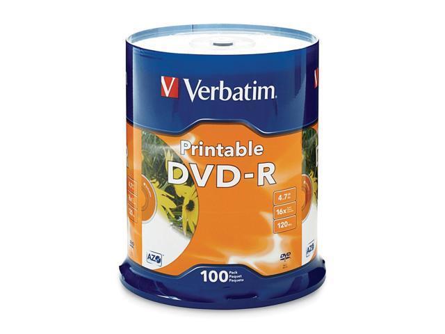 Verbatim 4.7GB 16X DVD-R Inkjet Printable 100 Packs Disc Model 95153