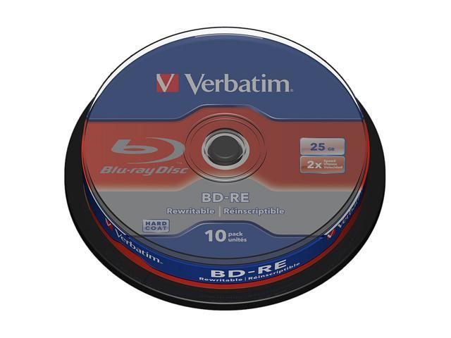 Verbatim 43694 Blu-ray Rewritable Media - BD-RE - 2x - 25 GB - 10 Pack Spindle