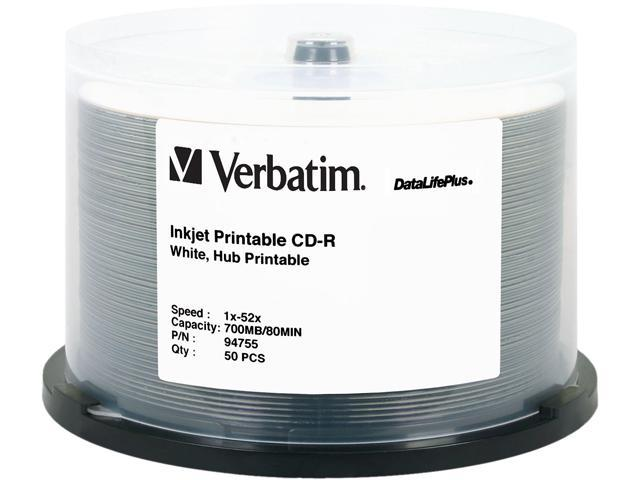Verbatim 700MB 52X CD-R White Inkjet, Hub Printable 50 Packs Disc Model 94755