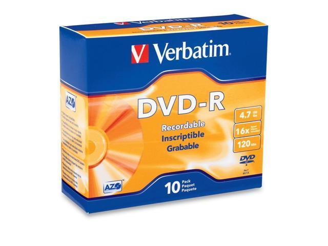 Verbatim 4.7GB 16X DVD-R 10 Packs Disc Model 95099