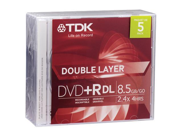 TDK 8.5GB 2.4X DVD+R DL 5 Packs Disc Model 48629
