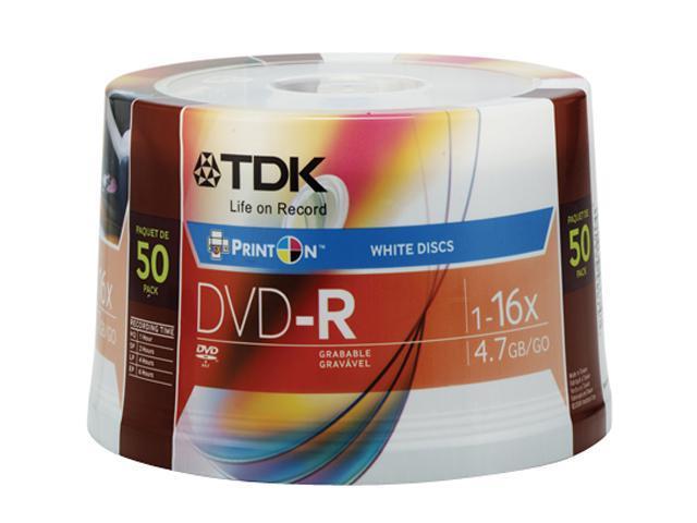 TDK 4.7GB 16X DVD-R Inkjet Printable 50 Packs Disc Model DVD-R47WMFCB50