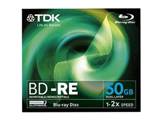 TDK 50GB 2X BD-RE Single Double Layer Blu-ray Disc Model 48700