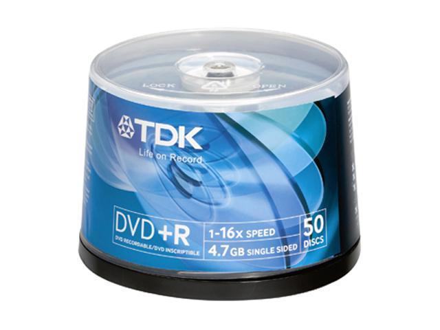 TDK 4.7GB 16X DVD-R 50 Packs Disc Model DVD+R47FCB50-KIT