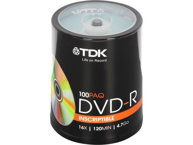TDK 4.7GB 16X DVD-R 100 Packs Disc Model 48520