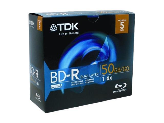 TDK 50GB 6X BD-R 5 Packs Media Model 61687