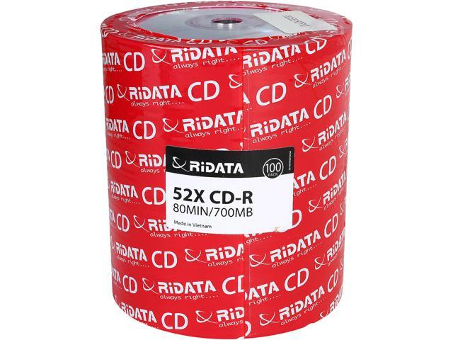 100-Pack Ridata R80JS52-RDF100 700MB 52X Inkjet Printable CD Disc Spindle