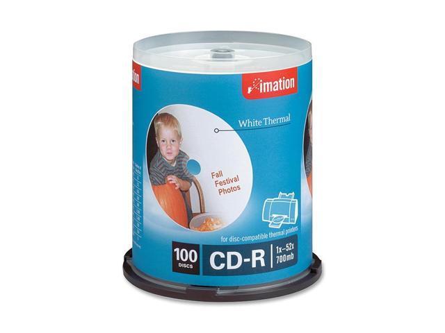imation 700MB 52X CD-R White Thermal Printable 100 Packs Disc Model 17274