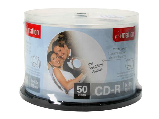 imation 700MB 52X CD-R white Inkjet hub printable 50 Packs Disc Model IMA 17304