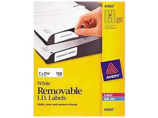 Avery White Removable ID Labels for Laser and Inkjet Printers 6460  1' x 2-5/8'  Pack of 750