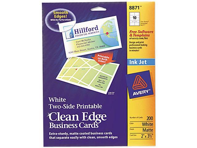 Print Clean Edge Business Cards Inkjet 2 x 3 1/2 White 200/Pack