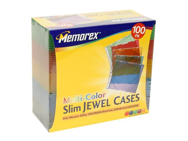 Memorex 01990 Slim CD Jewel Cases Color, 100 Pack