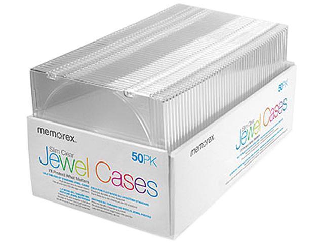 Memorex 01951 Slim CD Jewel Cases Clear, 50 Pack