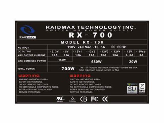 Thermaltake toughpower W0103RU 600W ATX12V / EPS12V SLI Certified CrossFire Certified 80 PLUS Certified Active PFC Power Supply
