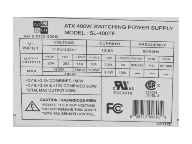 APEX SolyTech SL-400TF 400W ATX12V Power Supply