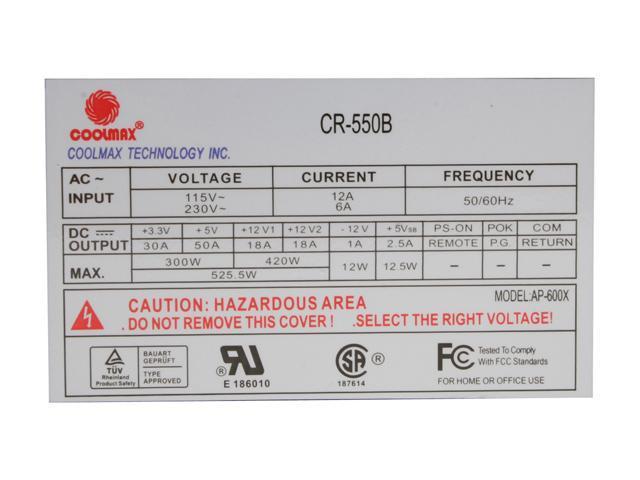 "COOLMAX CR-550B 550W ATX ""140mm Fan"" Power Supply"