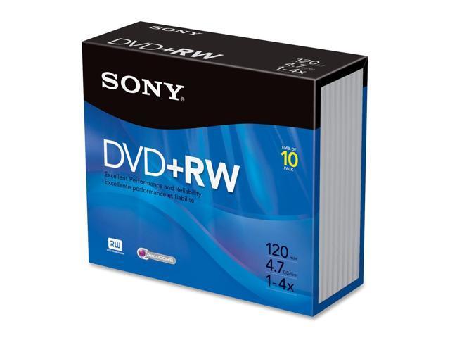 SONY 4.7GB 4X DVD+RW 10 Packs Disc Model 10DPW47R2
