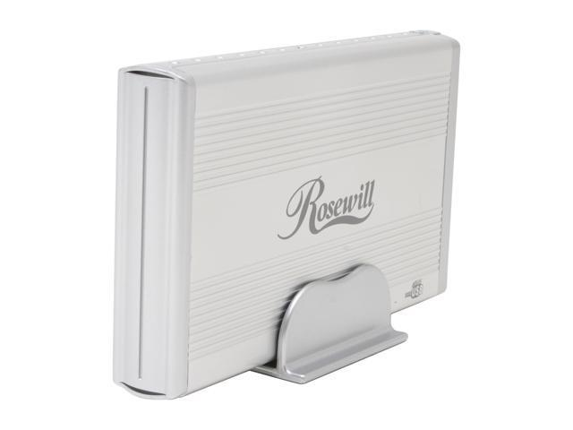 "Rosewill RX35MV-U Series RX35MV-U SLV Aluminum & plastic 3.5"" Silver Compliant with USB 1.1 & USB 2.0 Tool-Less light weight External Enclosure"