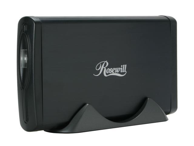 "Rosewill RX353-S BLK (Black) 3.5"" SATA to USB & eSATA Ext. Enclosure w/Int.40mm fan"
