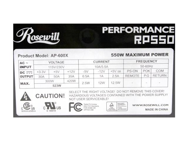 Rosewill RP550 550W ATX V1.3/ EPS12V Power Supply