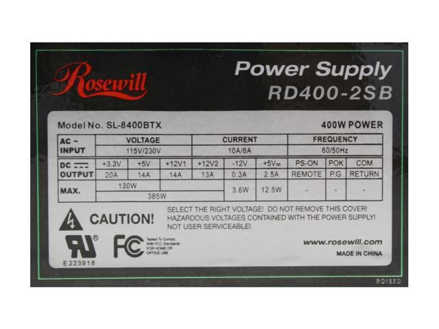 Rosewill Stallion Series RD400-2-SB 400W ATX 12V v2.2 Power Supply