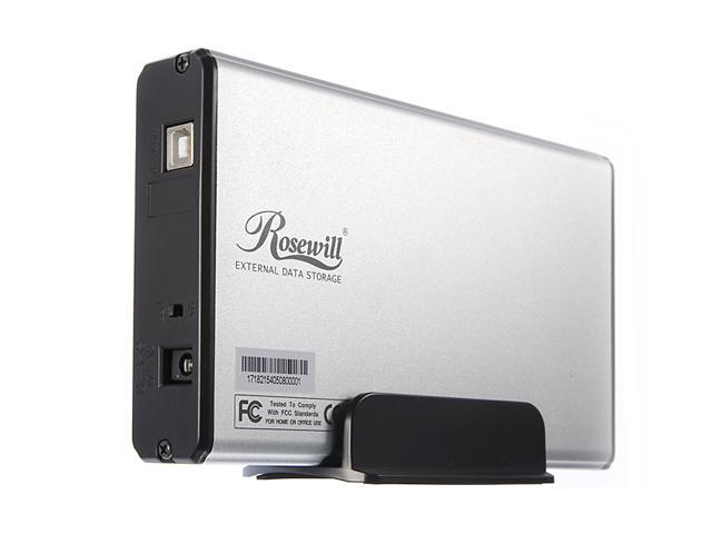 "Rosewill RX35-AT-IU SLV Aluminum 3.5"" Silver USB 2.0 External Enclosure"