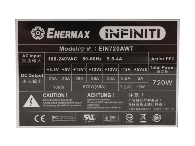 ENERMAX INFINITI EIN720AWT 720W ATX12V/ EPS12V SLI Certified CrossFire Ready 80 PLUS Certified Modular Active PFC Power Supply
