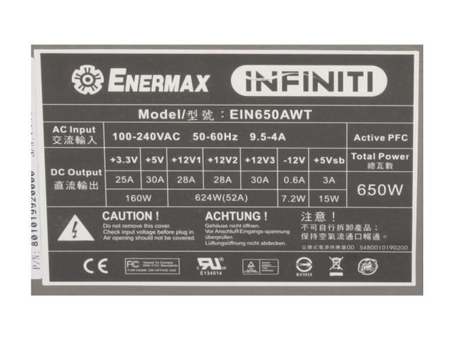 ENERMAX INFINITI EIN650AWT 650W ATX12V / EPS12V SLI Certified CrossFire Ready 80 PLUS Certified Modular Active PFC Power Supply