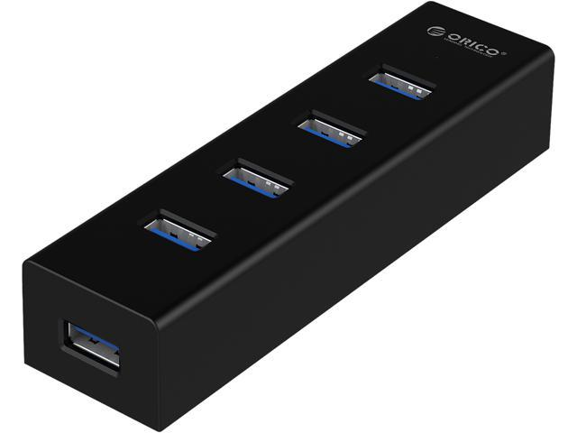 ORICO 4 Port Portable Super Speed USB 3.0 Hub a Built-in 3ft USB 3.0 Cable for Ultra Book, Macbook Air, Windows 8 Tablet Pc -Black (H4013-U3-V1)