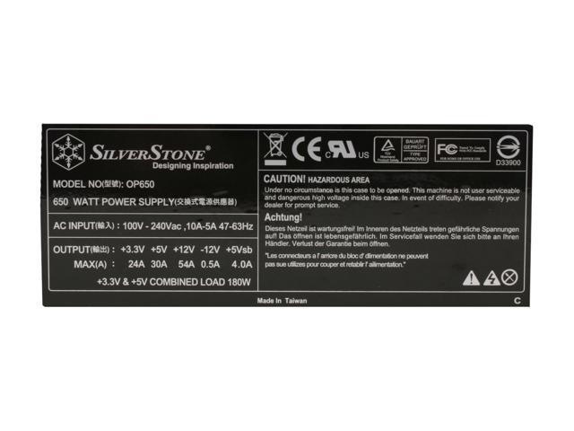 SILVERSTONE OP650 650W ATX 12V 2.2 & EPS12V SLI Ready CrossFire Ready Active PFC Power Supply