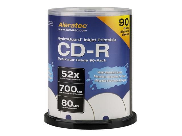 Aleratec 700MB 52X CD-R Inkjet Printable 90 Packs Hydroguard Duplicator Grade Media Model 110119
