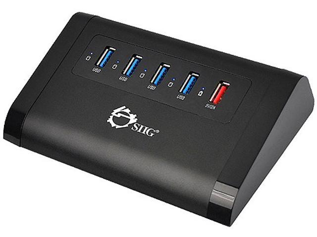 SIIG USB 3.0 4-Port Aluminum HUB with 2A Charging Port Powered by 12V/3A Adapter