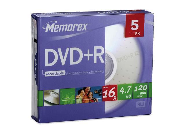 memorex 4.7GB 16X DVD+R 5 Packs Media Model 05622