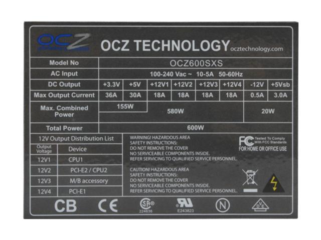 OCZ StealthXStream OCZ600SXS 600W ATX12V / EPS12V SLI Ready Active PFC Power Supply