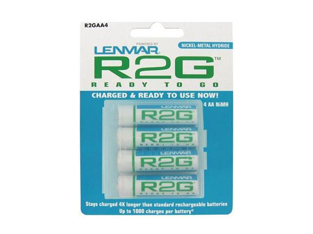 LENMAR R2GAA4 4-pack 2150mAh AA Ni-MH Ready-2-Go Rechargeable Batteries