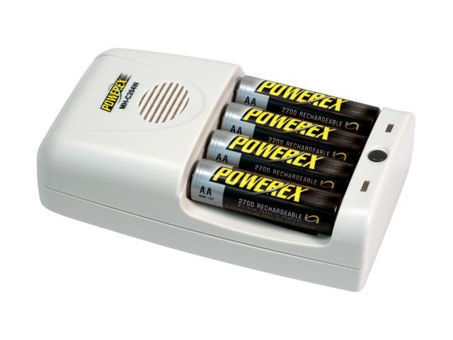 POWEREX MH-C204W 1-Hour Worldwide Travel Conditioning Charger w/ Switching Adapter and 2700mAh 4 x AA  Rechargeable Batteries (Made in Japan)